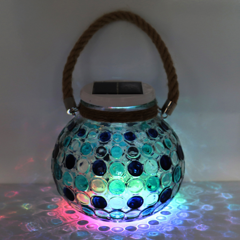 LED solar jar light with rope