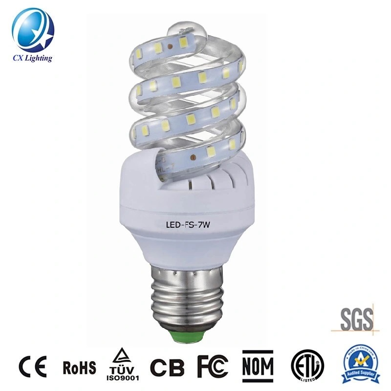 Hot Sale High Quality Full Spiral LED Lamp 7W 630lm 85-265V Ce RoHS EMC LVD Quality Standard Indoor Lighting IP44