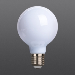 White LED filament bulb G80