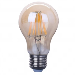 Amber color LED filament bulb