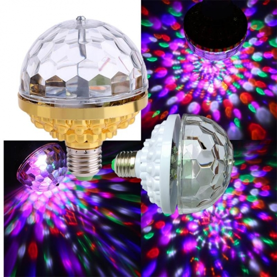 LED full color rotating lamp gold or white bases